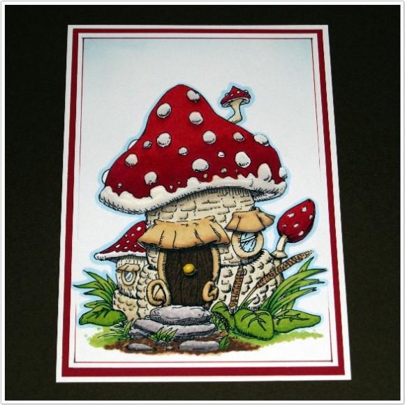 Mushroom House Digi Stamp Coloured With Spectrum Noir Pens