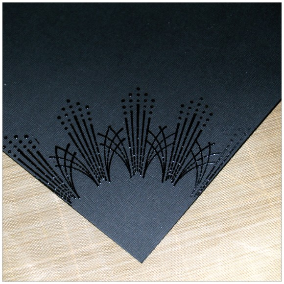 Things To Do With Inkadinkado Stamping Gear - Heat Embossing - Clear Embossing Powder on Clear Ink on Black Card