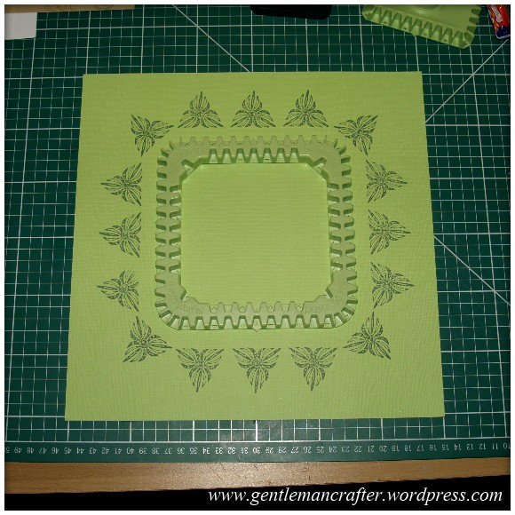 Inkadinkado Stamping Gear - Working With Squares and Rectangles - Square Wheel on 12x12 Scrapbook Page - Stage 1