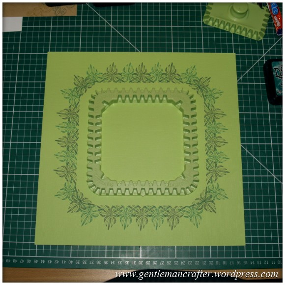 Inkadinkado Stamping Gear - Working With Squares and Rectangles - Square Wheel on 12x12 Scrapbook Page - Stage 2