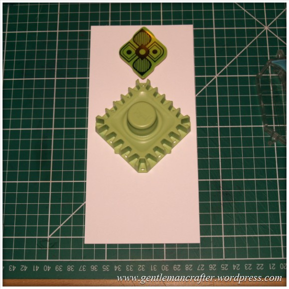 Inkadinkado Stamping Gear - Working With Squares and Rectangles - Twisted Square On Long Card - Stage 1