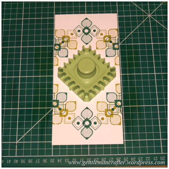Inkadinkado Stamping Gear - Working With Squares and Rectangles - Twisted Square On Long Card - Stage 2
