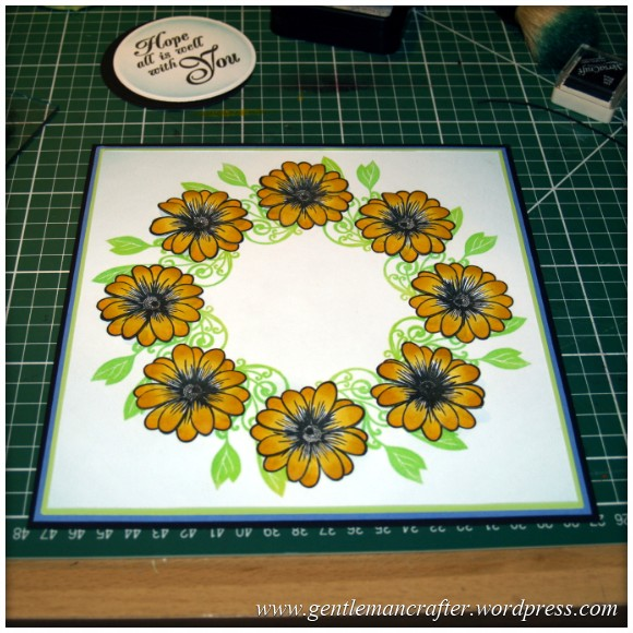 Alls Well That Ends Well - An Inkadinkado Stamping Gear Card - Applying The Second Layer of Flowers 2
