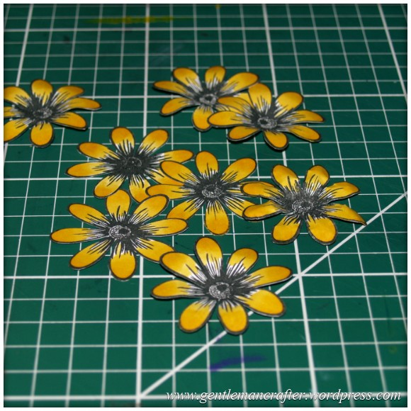 Alls Well That Ends Well - An Inkadinkado Stamping Gear - Colouring and Cutting The Flowers