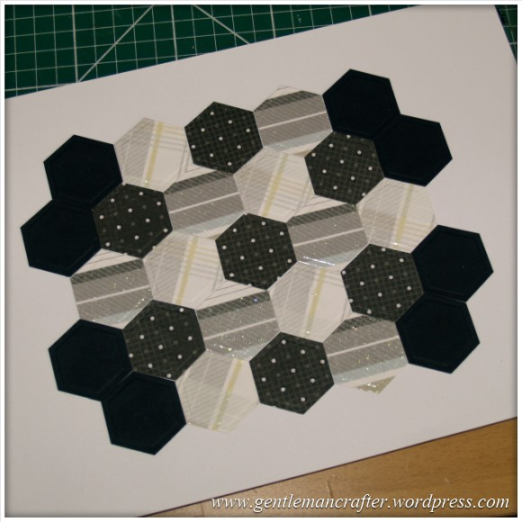 Faux Patchwork Card With Hexagon Spellbinders Dies - Initial Layout