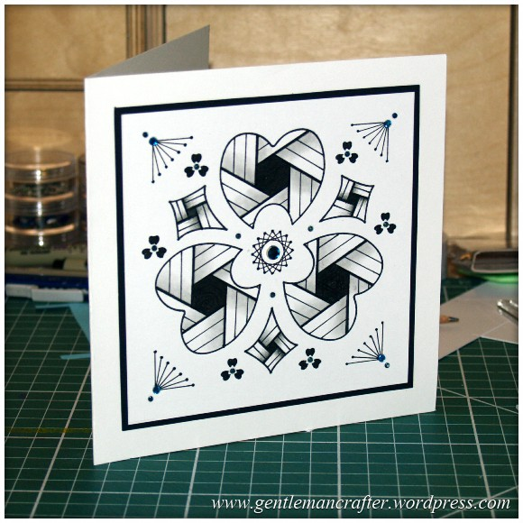 Old Dog, New Tricks - Using Old Stencils For Zentangled Cards - Finished Card 2
