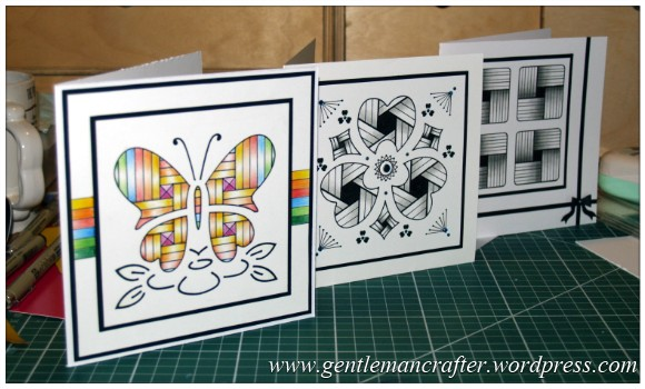 Old Dog, New Tricks - Using Old Stencils For Zentangled Cards - Finished Cards