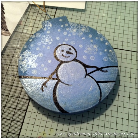 Hand Stamped And Hand Painted Snowman Christmas Tree Decoration - 10
