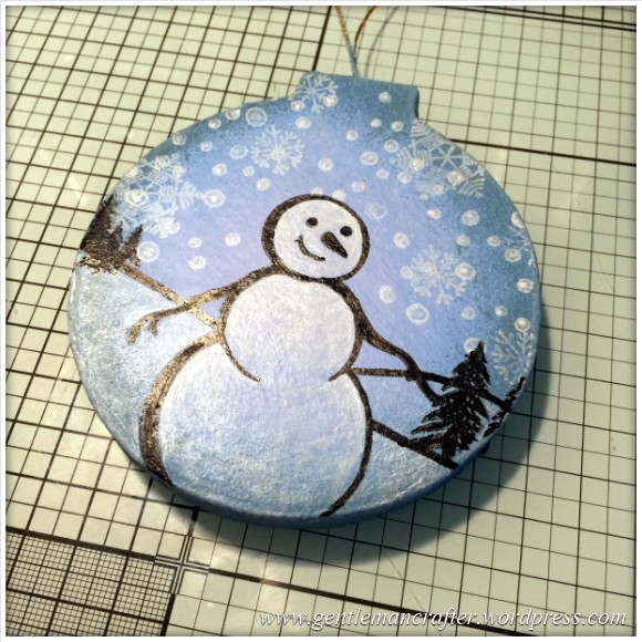 Hand Stamped And Hand Painted Snowman Christmas Tree Decoration - 11