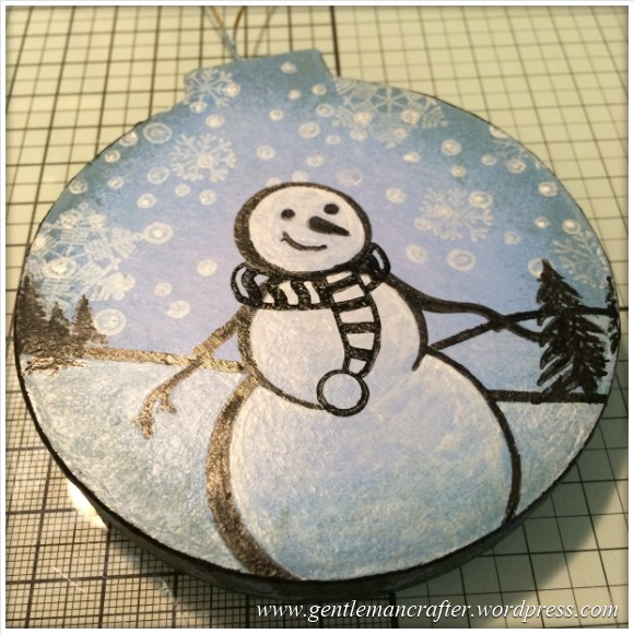 Hand Stamped And Hand Painted Snowman Christmas Tree Decoration - 12