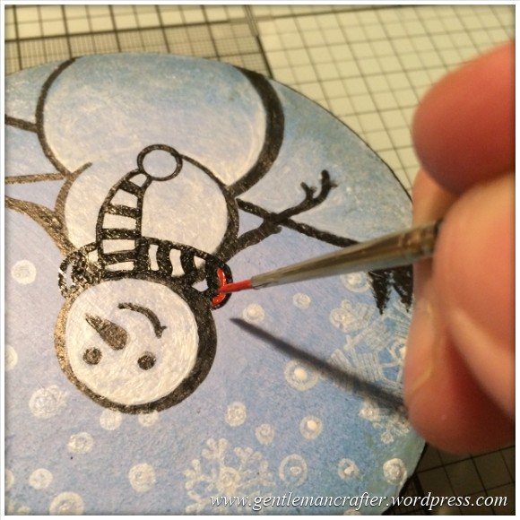 Hand Stamped And Hand Painted Snowman Christmas Tree Decoration - 13