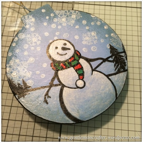 Hand Stamped And Hand Painted Snowman Christmas Tree Decoration - 14