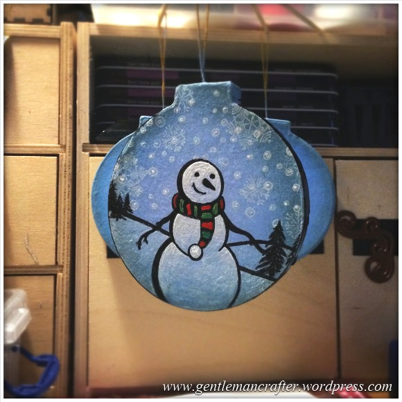 Hand Stamped And Hand Painted Snowman Christmas Tree Decoration - 152