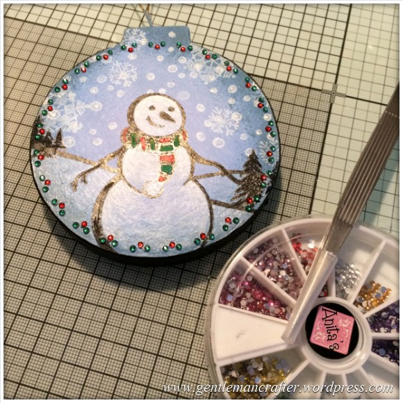 Hand Stamped And Hand Painted Snowman Christmas Tree Decoration - 16