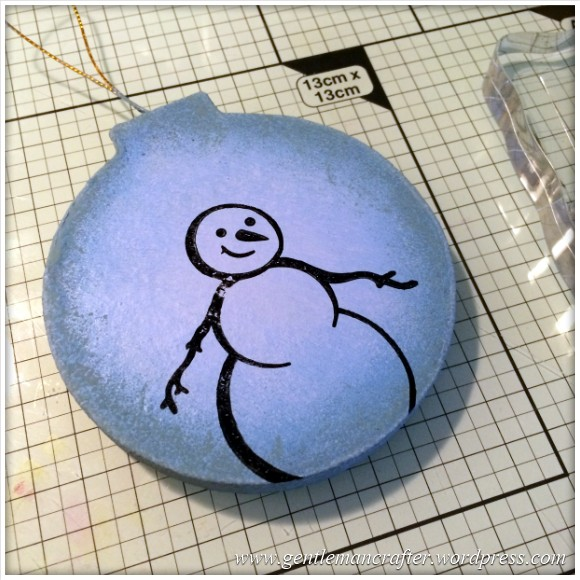 Hand Stamped And Hand Painted Snowman Christmas Tree Decoration - 3