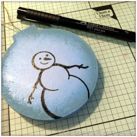 Hand Stamped And Hand Painted Snowman Christmas Tree Decoration - 4