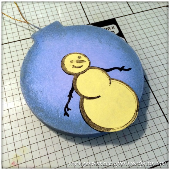 Hand Stamped And Hand Painted Snowman Christmas Tree Decoration - 5