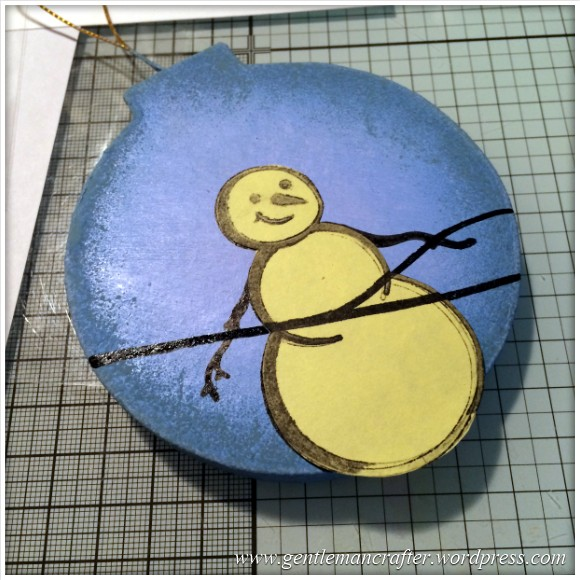 Hand Stamped And Hand Painted Snowman Christmas Tree Decoration - 6