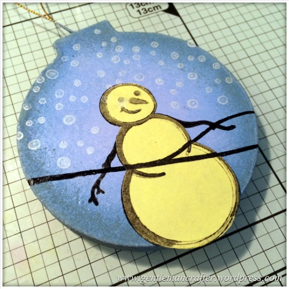 Hand Stamped And Hand Painted Snowman Christmas Tree Decoration - 7