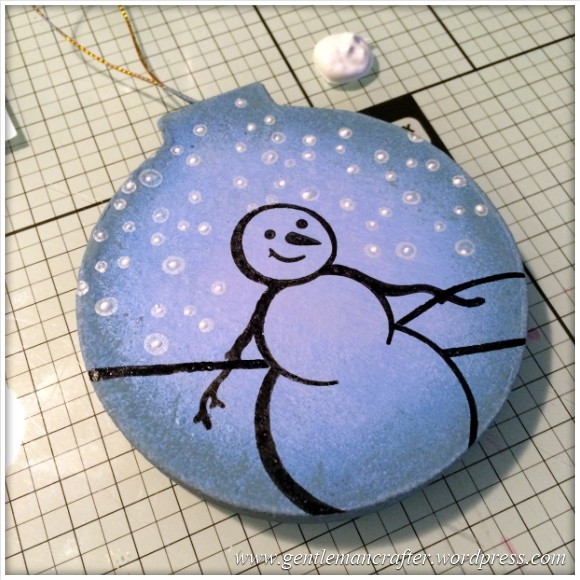 Hand Stamped And Hand Painted Snowman Christmas Tree Decoration - 8