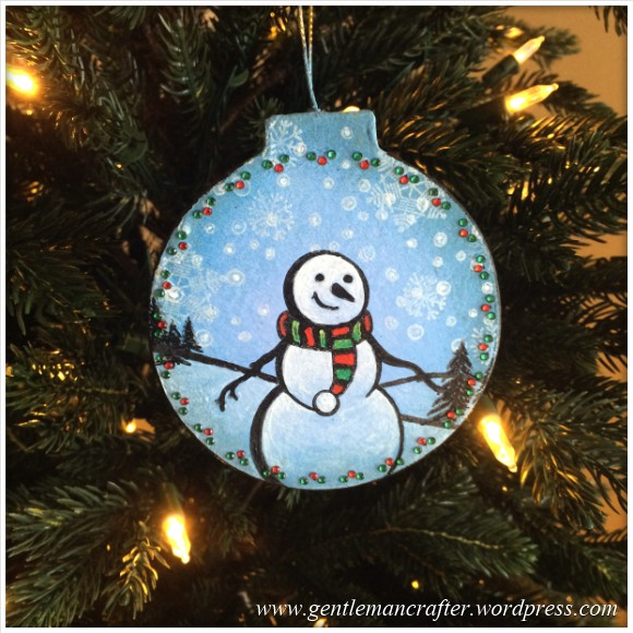 Hand Stamped And Hand Painted Snowman Christmas Tree Decoration - Featured