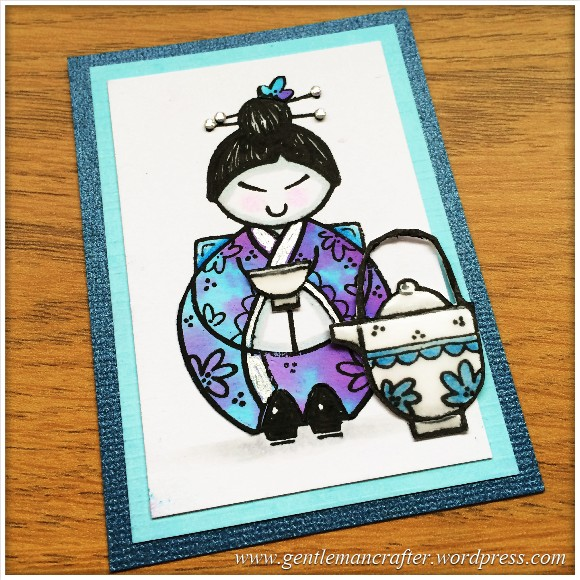 Artist Trading Card Using Woodware Oriental Elements Stamps by Francoise Read - 89.1