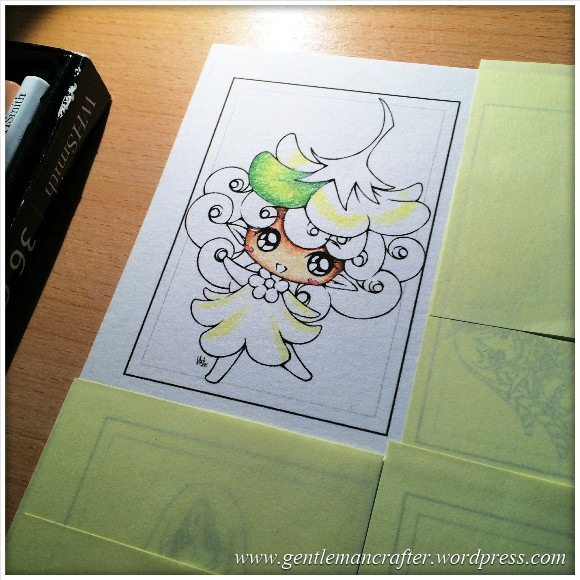 Artist Trading Card 93 - Digi Stamp Colouring - Starting To Colour