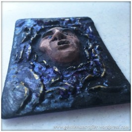 Artist Trading Card Daily - 100 - Air Dry Clay Face 5