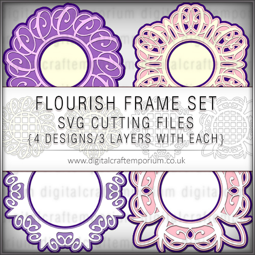 Flourish Frame Set SVG Cutting Files