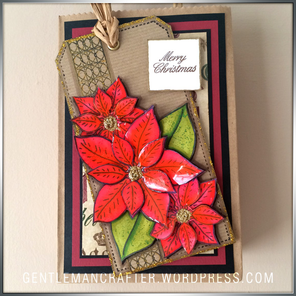 Georgina Ford Poinsettia Stamp Gift Bag (8)