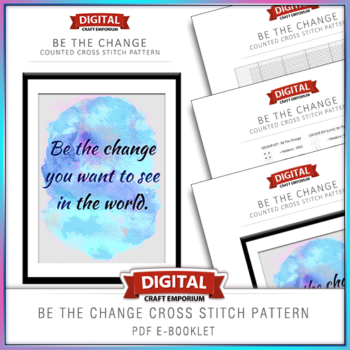 Be The Change Cross Stitch Pattern eBooklet Preview