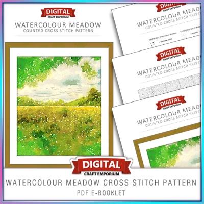 Watercolour Meadow Cross Stitch Pattern eBooklet Preview