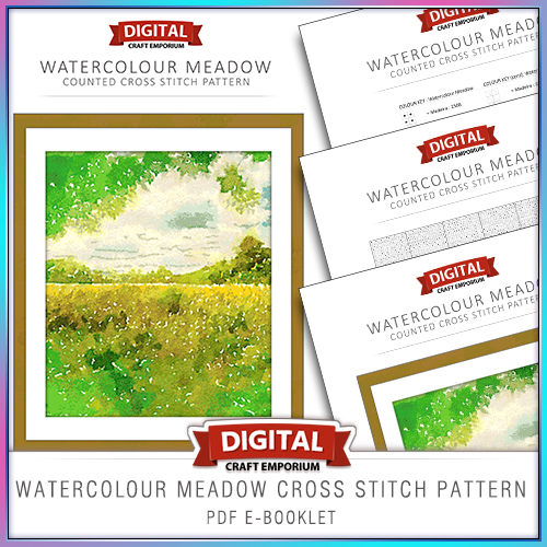 Watercolour Meadow Cross Stitch Pattern eBooklet Preview
