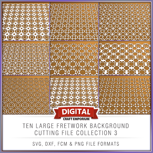Ten All New Fretwork Background Cutting Files Set 3 Dxf