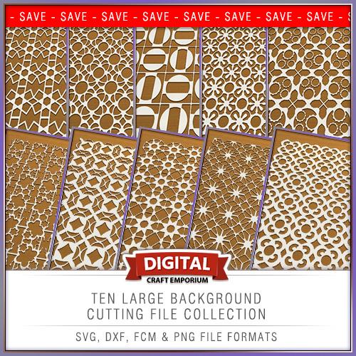 SVG DXF FCM Large Background Cutting File