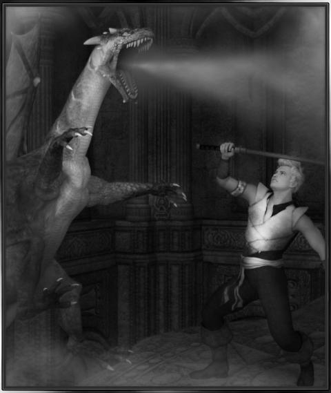 dragon-slayer-scene-black-and-white