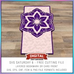 SVG Saturday 7 Medallion Card Blank Electronic Cutting File