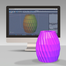 Design A 3D Spiralized Vase In Hexagon 2 GC