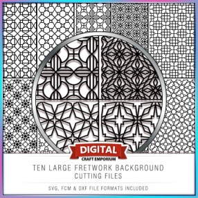 TEN FRETWORK BACKGROUND CUTTING FILES PREVIEW