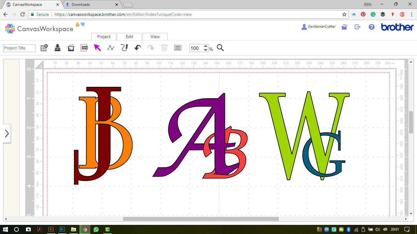 Creating Interlinked Lettering In Canvas Workspace For The Brother Scan N Cut