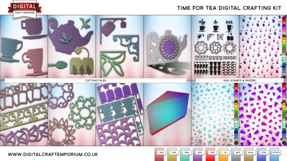 Time For Tea Cutting File Collection Preview