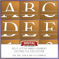 Split Letter Cutting File Collection Preview