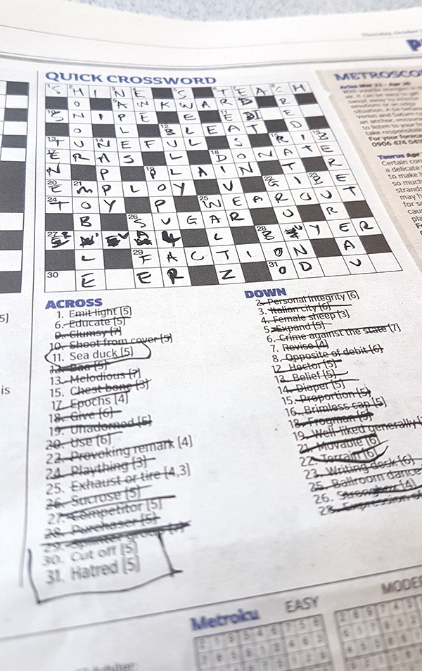 Foiled Foiling And Cryptic Crossword Help Needed Gentleman Crafter