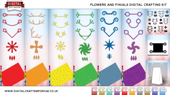 New Flowers and Finials Digital Crafting Pack Including SVG