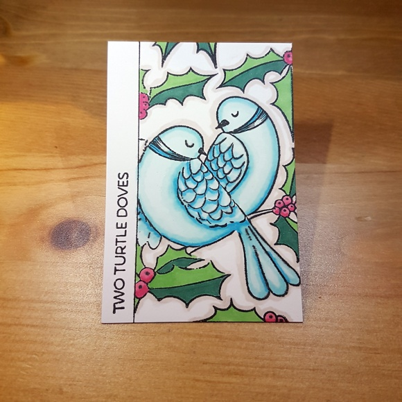 2 Two Turtle Doves Artist Trading Card by John Bloodworth Gentleman Crafter