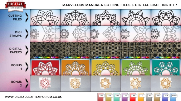 Mandala Cutting File Collection and Digital Crafting Bundle Part 1 Hi Res