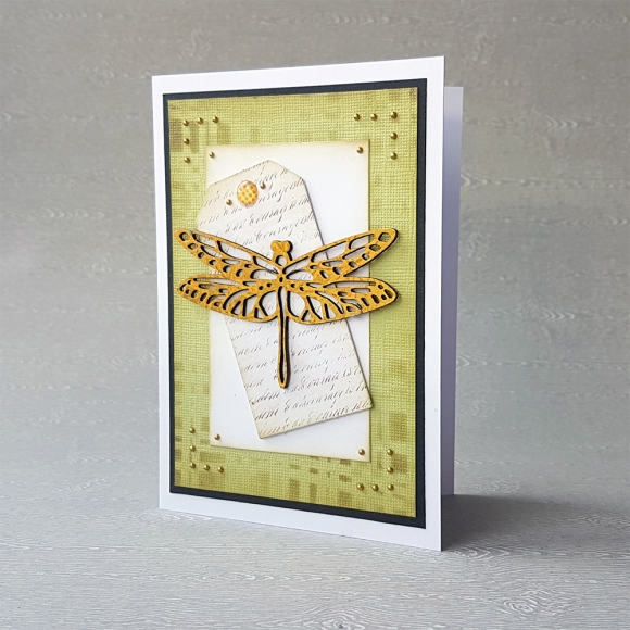 Couture Creations Butterfly Garden Foiled Dragonfly Card by John Bloodworth