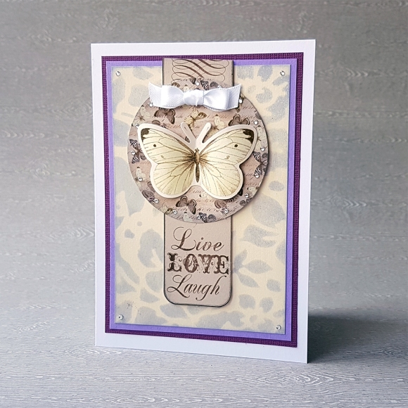 Couture Creations Butterfly Garden Live Lough Laugh Card by John Bloodworth