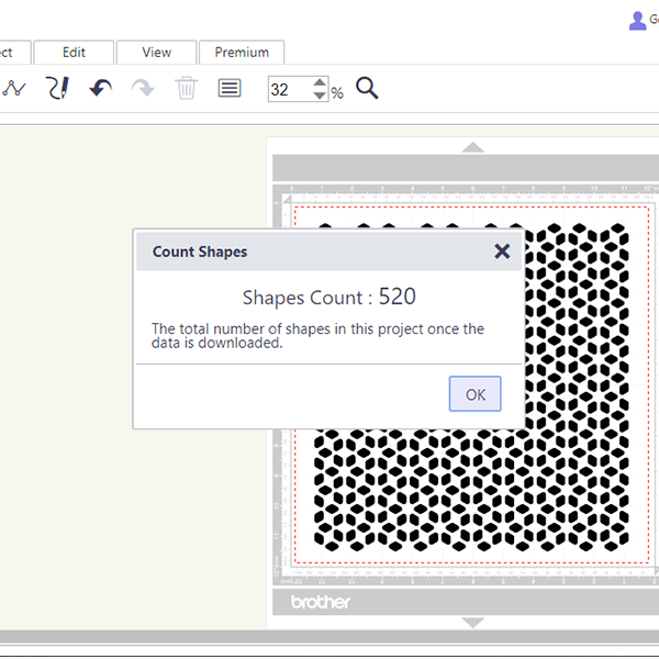 Image showing the shape count feature in Canvas Workspace online.