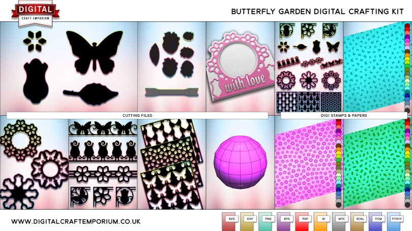 Butterfly Garden Collection SVG Cutting File Set